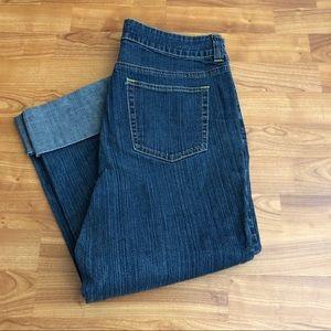 High waist denim crop pants